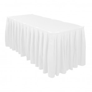 Napkin Rentals · 14 Foot Accordion Pleat Polyester Table Skirt White_1