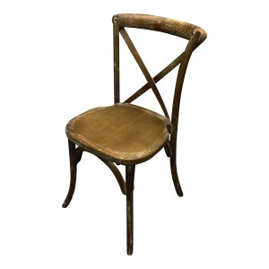 Brown Rustic Cross Back Chair
