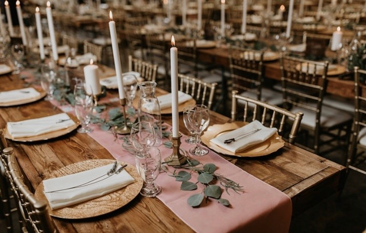wood tables and gold chiavari chairs 2