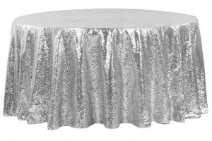 120 Silver Round Tablecloth