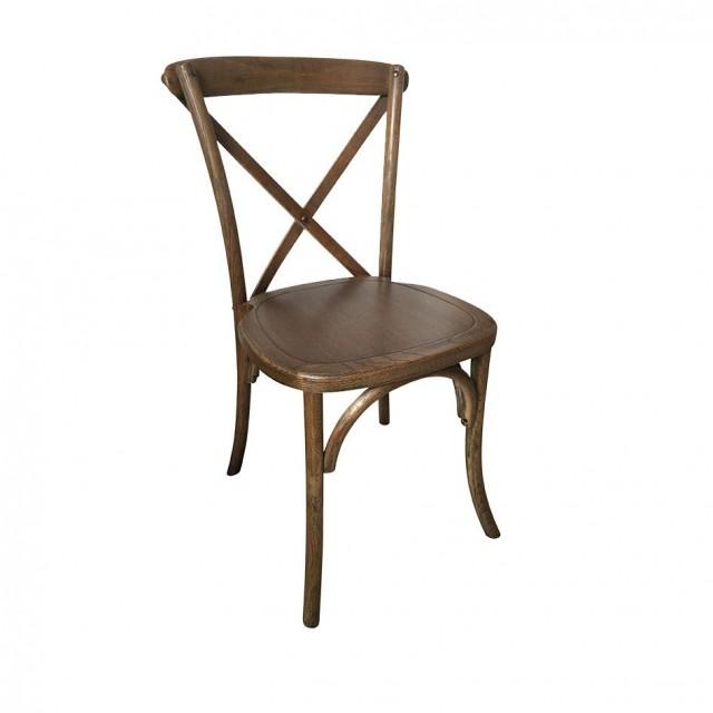 Brown Vineland Cross Back Wood Chair